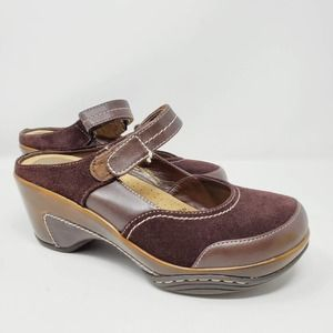 Rialto Mystical Brown Leather Mule Wooden Clogs